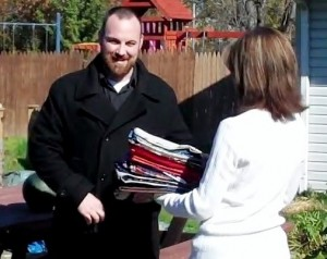 Pat delivers pillowcases to the Freedom House homeless veteran shelter in Kent, Ohio